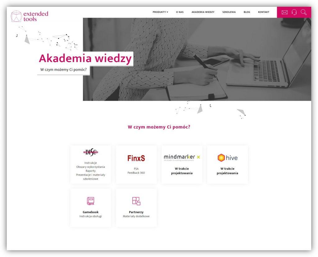 Zrzut ekranu z Akademii Wiedzy Extended tools